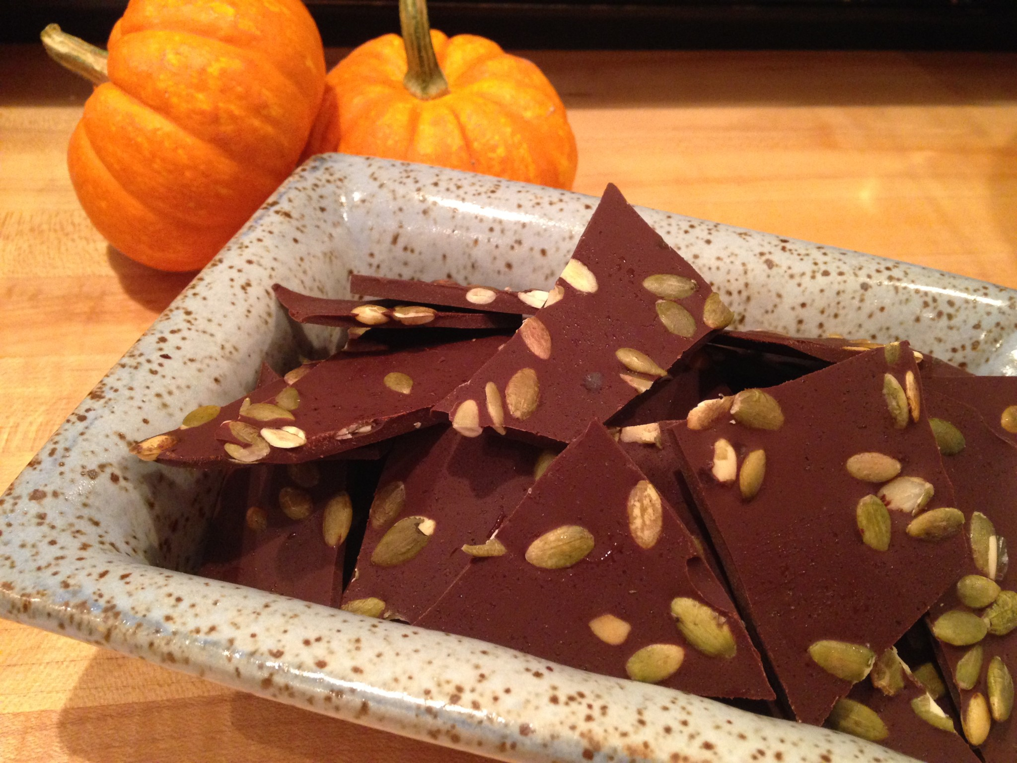 salted dark chocolate pumpkin bar | Simply Made