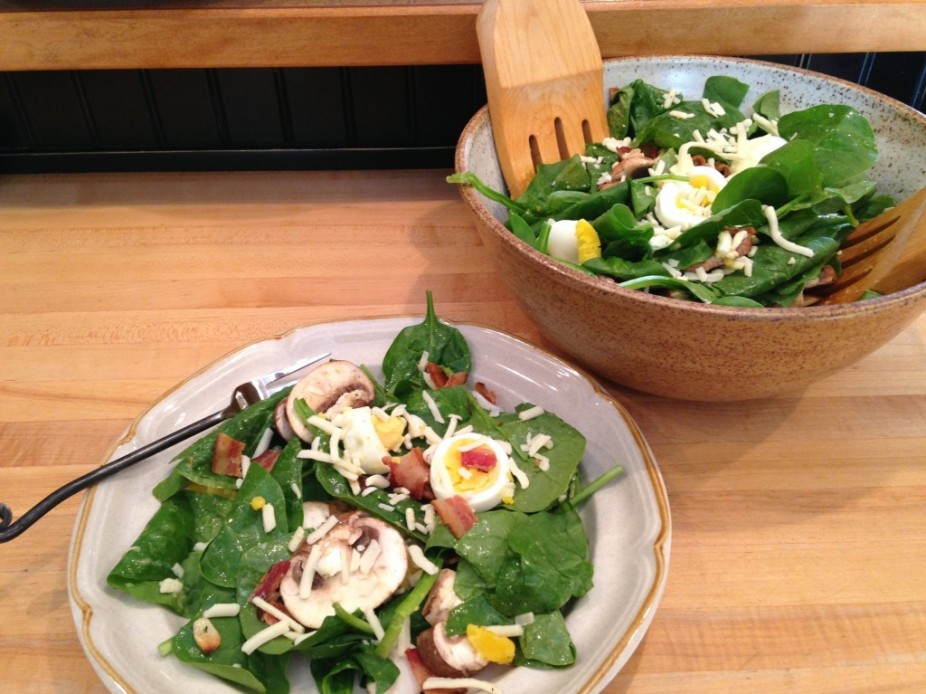Simply Made Spinach Salad With Bacon & Egg