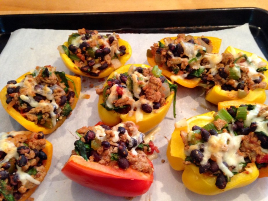 Simple Turkey & Black Bean Stuffed Pepper Halves