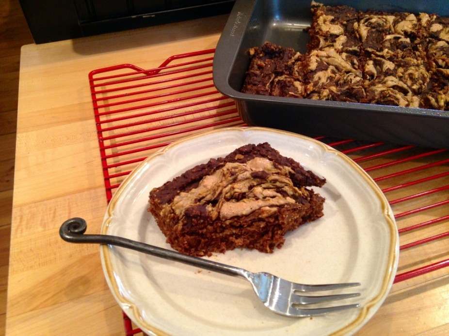 Chocolate Peanut Butter Swirl Pumpkin Protein Brownies