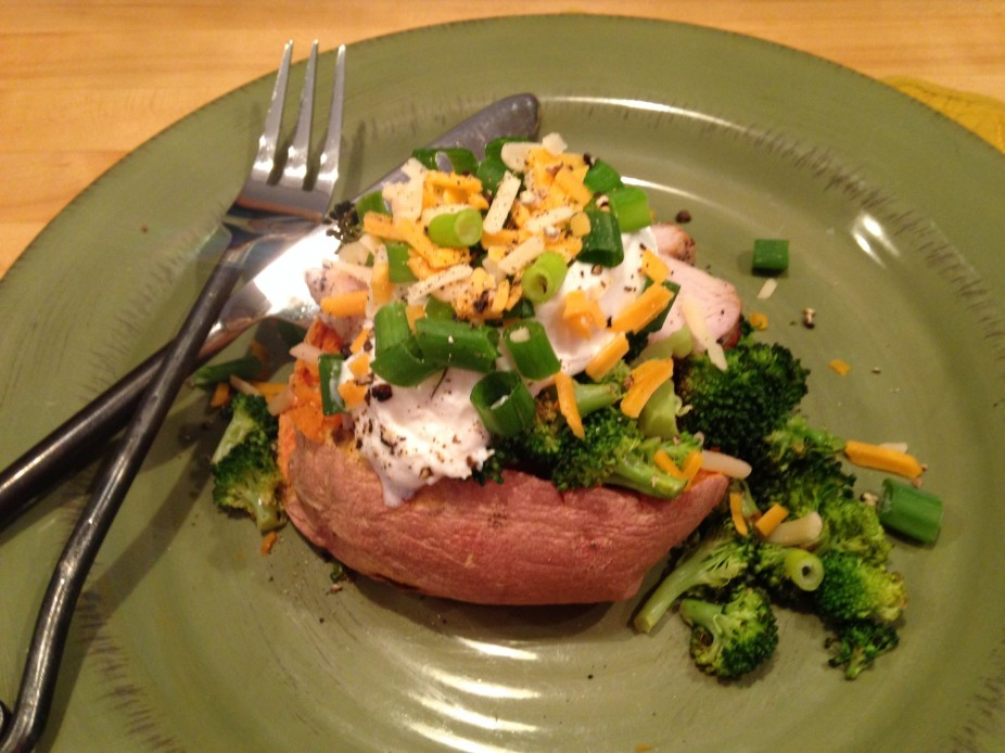 Overstuffed Chicken & Broccoli Sweet Potato