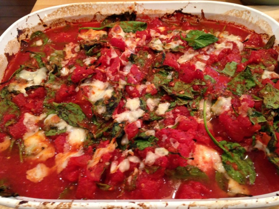Baked Chicken With Spinach & Tomatoes