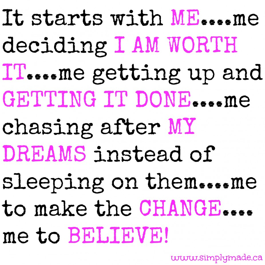 It starts with ME….