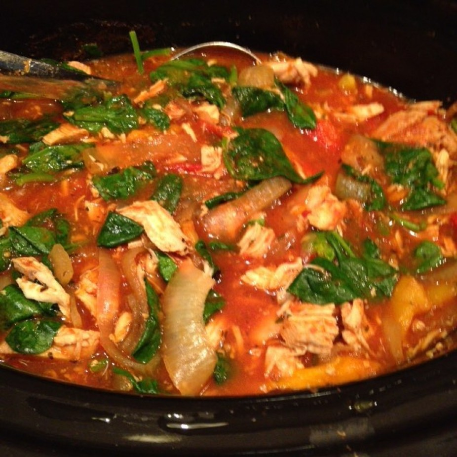 Simple Crock Pot Italian Chicken with Onions & Peppers