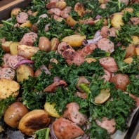 One Pan Potato, Sausage & Kale